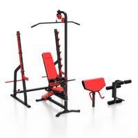 Zestaw MS36 ławka treningowa dwustronnie regulowana + stojaki wielopoziomowe + prasa na nogi + modlitewnik + wyciąg Marbo Sport