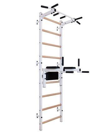Drabinka gimnastyczna z drewnianymi szczebelkami, drążkiem i poręczami 312W BenchK 240 x 67 cm