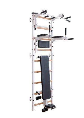 Drabinka gimnastyczna z drewnianymi szczebelkami, drążkiem, poręczami i ławką 713W BenchK 240 x 67 cm