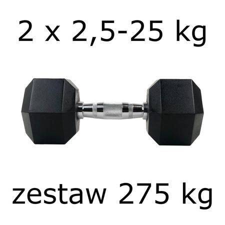 Zestaw hantli hex 2 x 2,5-25 kg (275 kg)
