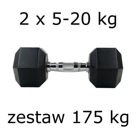 Zestaw hantli hex 2 x 5-20 kg (175 kg)